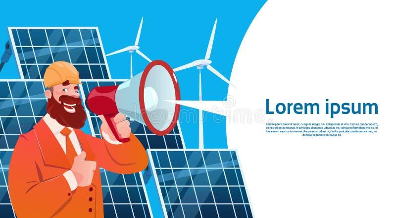 Mann-Windkraftanlage-Solarenergie-Platten-auswechselbare Stations-Darstellung lizenzfreie abbildung