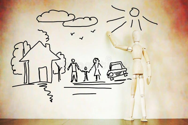 Mann zeichnet glückliche traditionelle Familie stockfotos