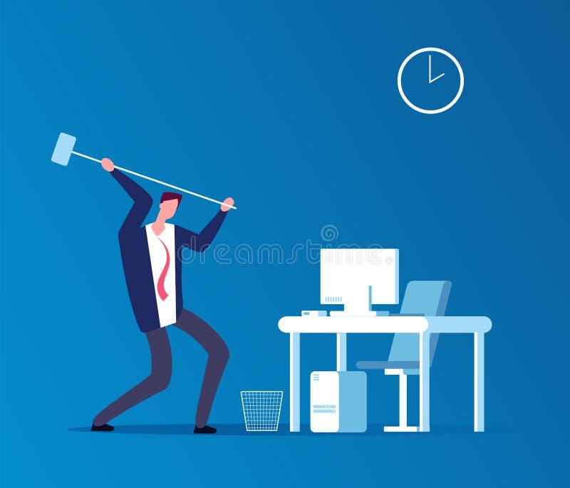 Mann zerschmettert Computer Frustrierter verärgerter Benutzer mit zusammenstoßendem Arbeitsplatz des Hammers im Büro Programmprob vektor abbildung