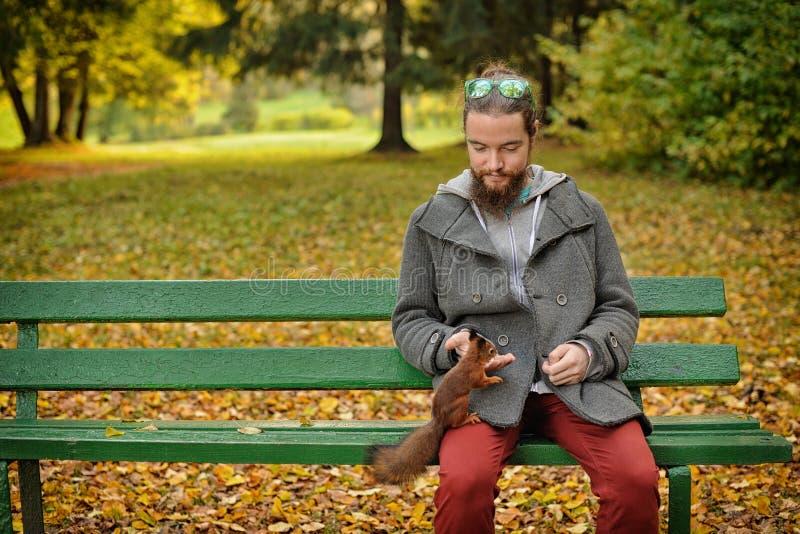 Mann zieht ein Eichhörnchen ein lizenzfreie stockbilder
