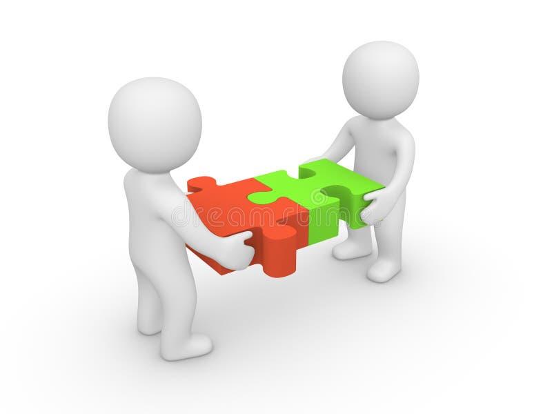 Mann zwei 3d, welche sich zusammen Puzzlespielstücken anschließt. vektor abbildung