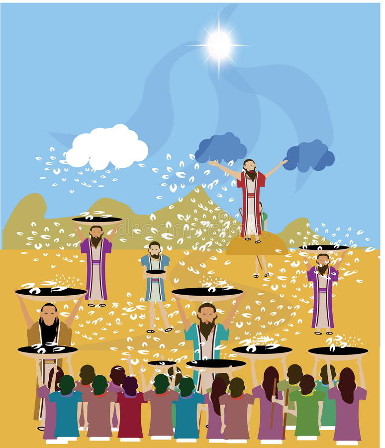 Manna falling from heaven. On people in the Book of Exodus, manna is described as being a fine, flake-like thing like the frost on the ground vector illustration