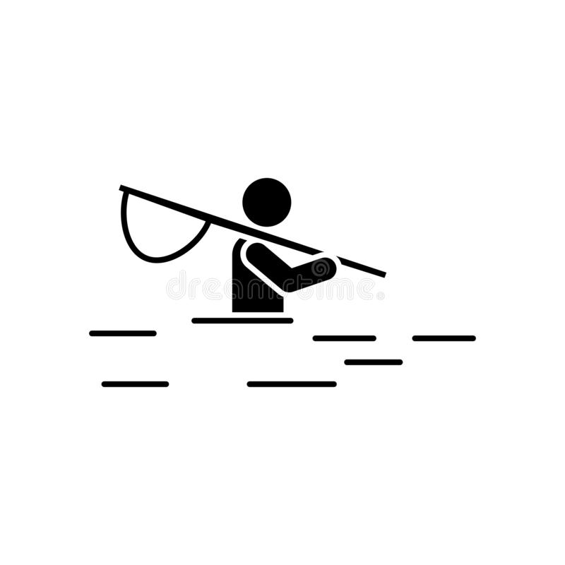 Mannabenteuer, das Flussfreizeitikone fischt Element der Piktogrammabenteuerillustration lizenzfreie abbildung
