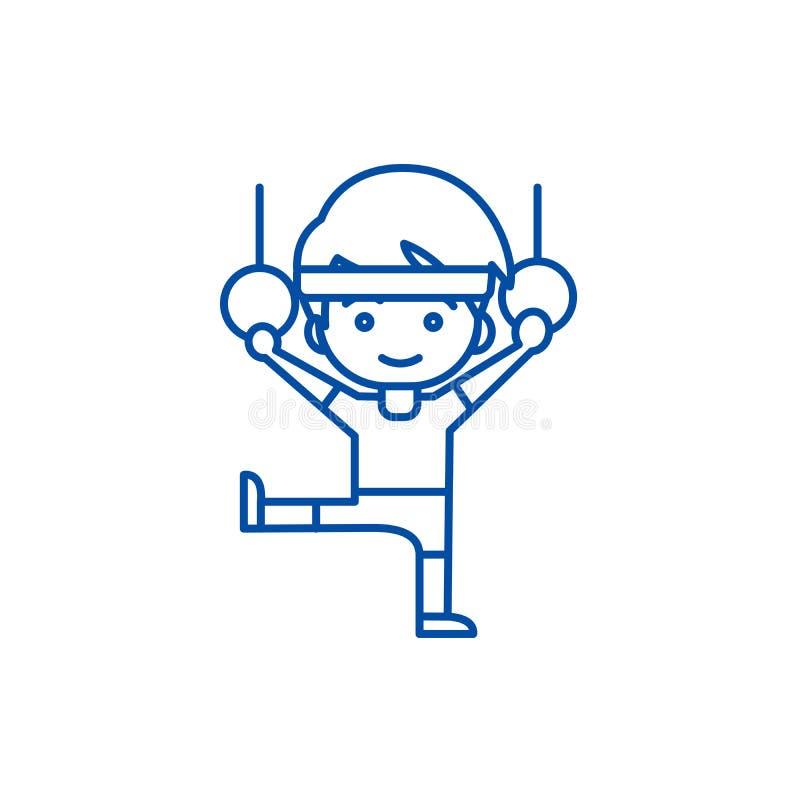 Mannaerobic, Training, Gymnastik schellt Linie Ikonenkonzept Mannaerobic, Training, Gymnastik schellt flaches Vektorsymbol, Zeich stock abbildung