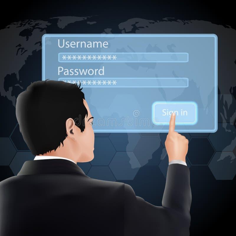 Mannanmeldung und -passwort lizenzfreie abbildung