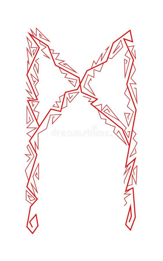Mannaz rune. Ancient Scandinavian runes. Runes senior futarka. Magic, ceremonies, religious symbols. Predictions and amulets. White background and red ornament stock illustration