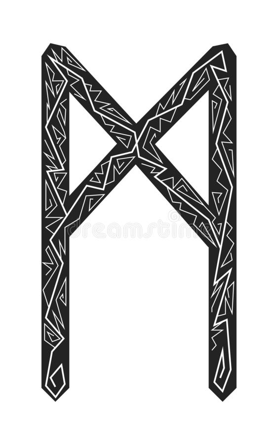 Mannaz rune. Ancient Scandinavian runes. Runes senior futarka. Magic, ceremonies, religious symbols. Predictions and amulets. Ornament lightning. White royalty free illustration