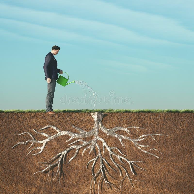 Mannbewässerung lizenzfreie abbildung