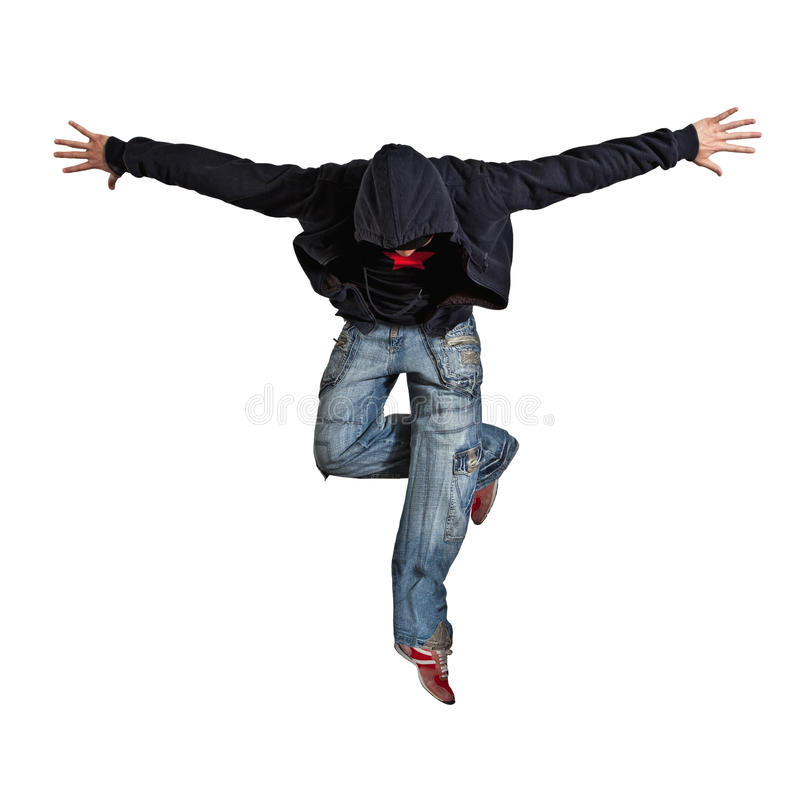 MannBreakdance lokalisiert auf weißem Hintergrund lizenzfreie stockbilder