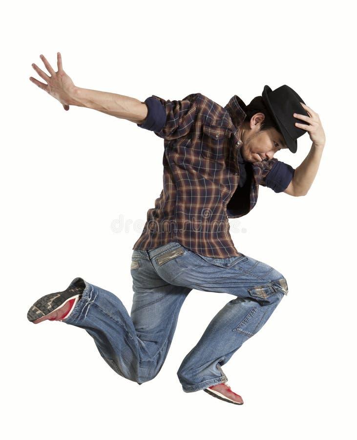MannBreakdance lokalisiert auf weißem Hintergrund stockfotografie