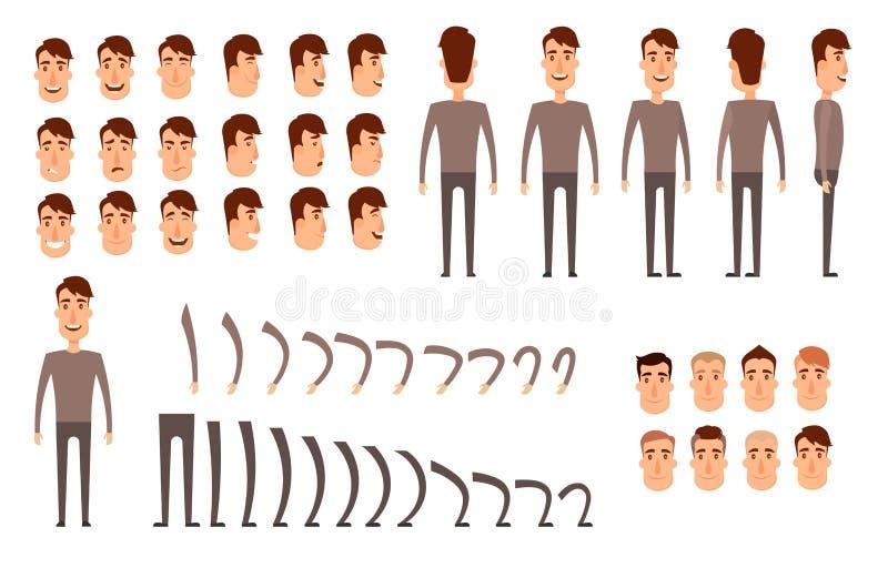 Manncharakter-Schaffungssatz Ikonen mit verschiedenen Arten von Gesichtern, Gefühle, Kleidung Front, Seite, hintere Ansicht des M stock abbildung