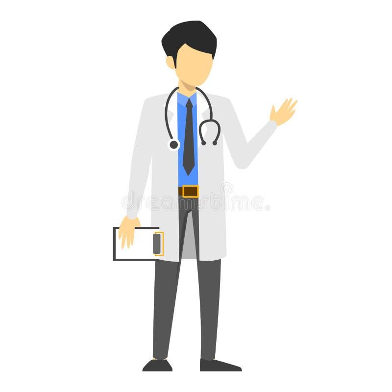 Manndoktor in der weißen einheitlichen Stellung mit Stethoskop lizenzfreie abbildung