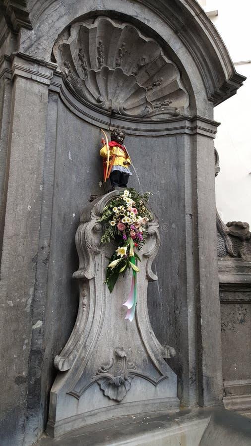 Manneken†«Pis, mascotte de garçon de Bruxelles images libres de droits