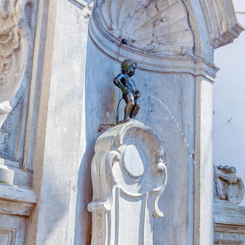 Manneken Pis喷泉,布鲁塞尔,比利时 免版税库存图片