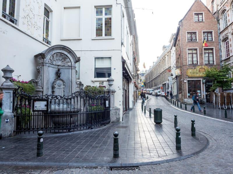 Manneken Pis在布鲁塞尔,比利时 库存图片