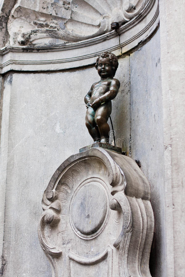 Manneken Pis. Symbol of the City of Brussels, Belgium stock photography