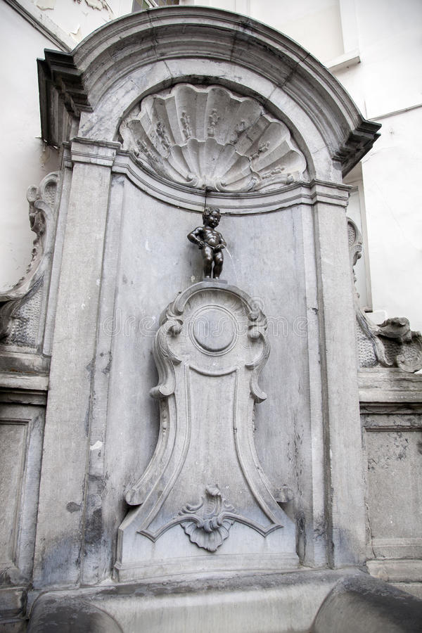 Manneken Pis Fountain by Duquesnoy, Brussels stock image