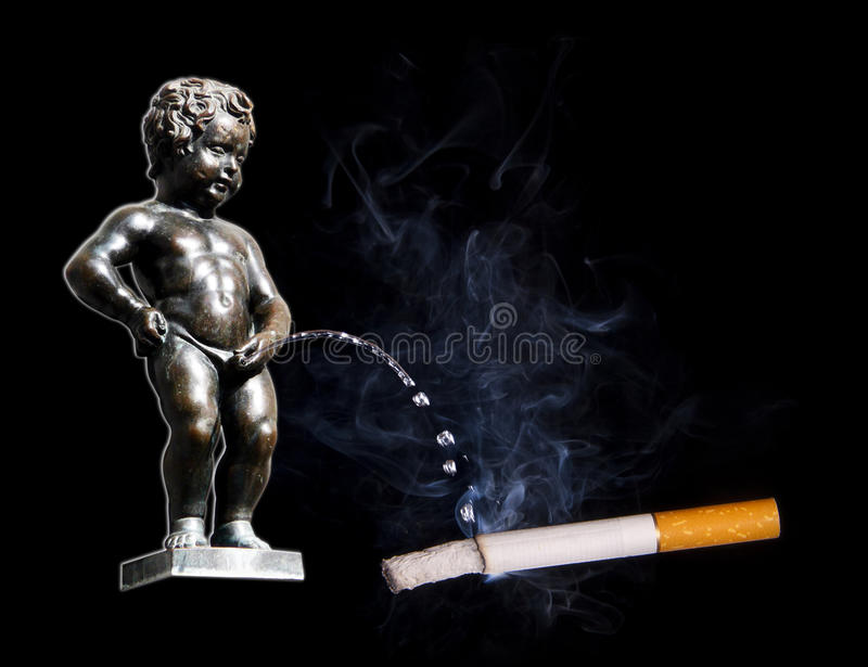 Manneken Pis peeing to cigarette. Famous Manneken Pis peeing to burning cigarette. Concept picture. Stop smoking collection royalty free stock images