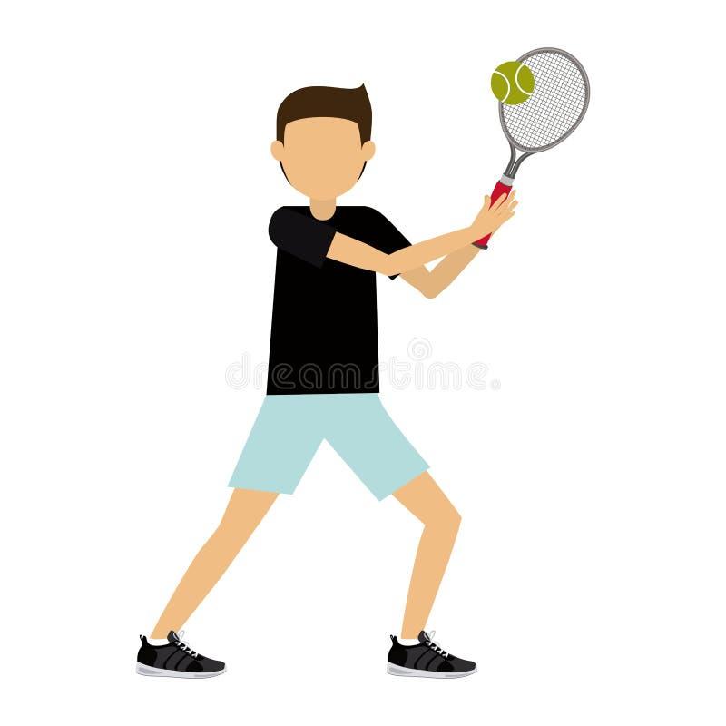 Mannelijk atleet het praktizeren tennis geïsoleerd pictogramontwerp vector illustratie