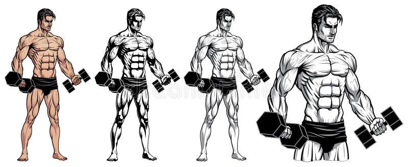 Mannelijk Bodybuilder Volledig Lichaam met Domoor stock illustratie