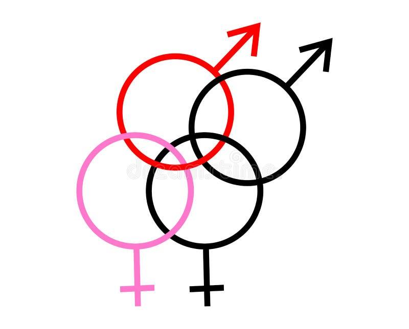 Mannelijk en vrouwelijk bisexualityconcept van het geslachtsgeslacht royalty-vrije illustratie