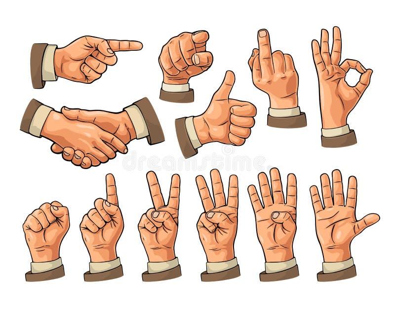 Mannelijk en vrouwelijk Handteken Vuist die, als, richten, o.k., vrede, vector illustratie