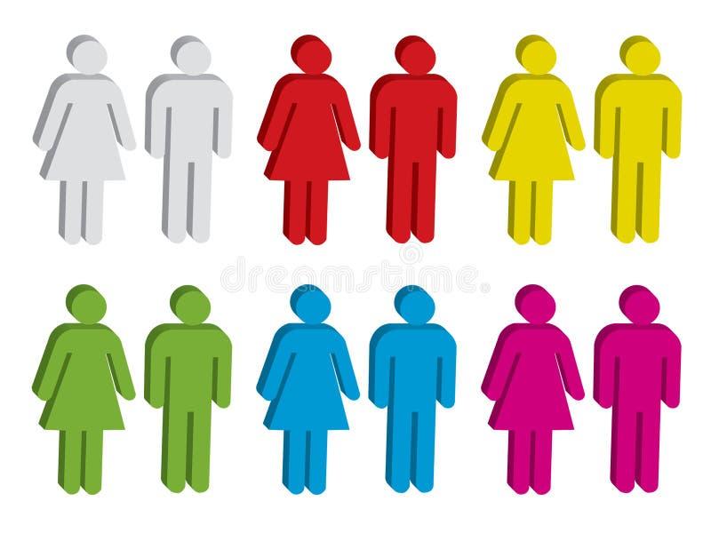 Mannelijk en vrouwelijk teken stock illustratie
