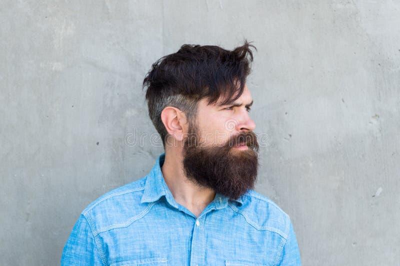 Mannelijk het voelen Stilerende baard en snor Gezichtshaarbehandeling Hipster met baard brutale kerel Modetrendbaard stock fotografie