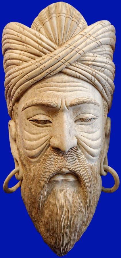 Mannelijk houten masker stock afbeelding