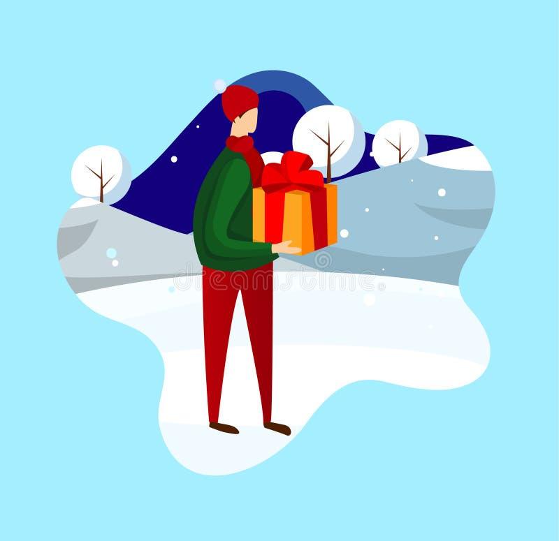 Mannelijk Karakter met in Hand Tribune van de Giftdoos op Sneeuw stock illustratie