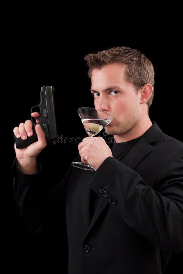 Mannelijk Kaukasisch model met een kanon stock foto