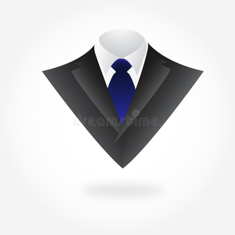 Mannelijk Kledings Donker Kostuum met Band Vector royalty-vrije stock foto