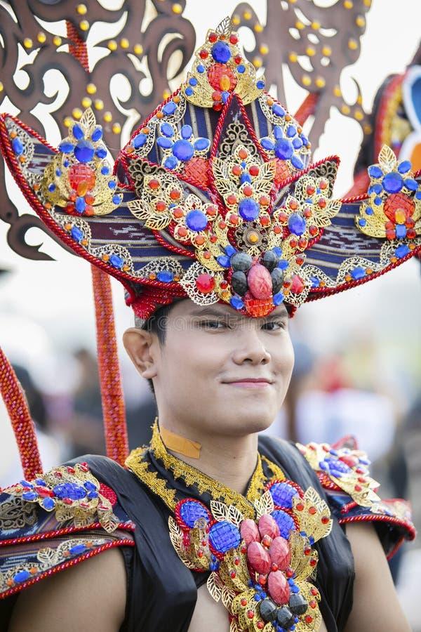 Mannelijk model bij het Jember-Festival Carnaval stock foto's