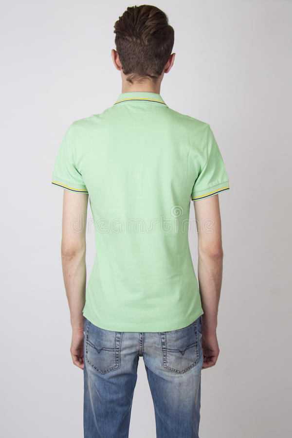 Mannelijk model van terug in helder overhemd stock afbeelding
