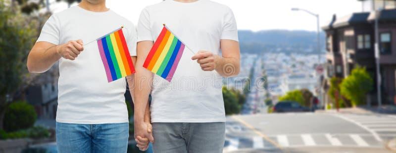 Mannelijk paar die met vrolijke trotsvlaggen handen houden stock foto