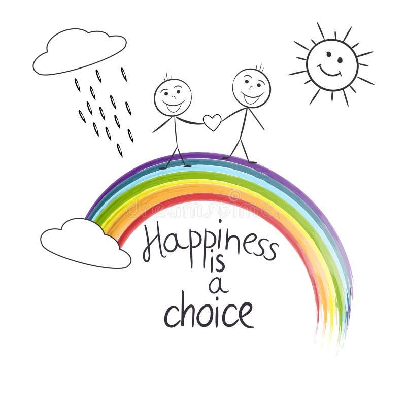 Mannelijk paar die zich op de regenboog tussen wolken bevinden Het geluk is een citaat van de keustekst De kaart van de groet LGB vector illustratie