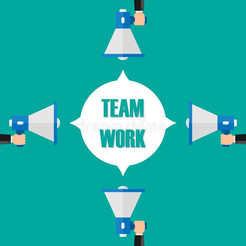 Mannelijk velen de megafoon van de handholding met de toespraakbel van het teamwerk luidspreker Banner voor zaken, marketing en r royalty-vrije illustratie