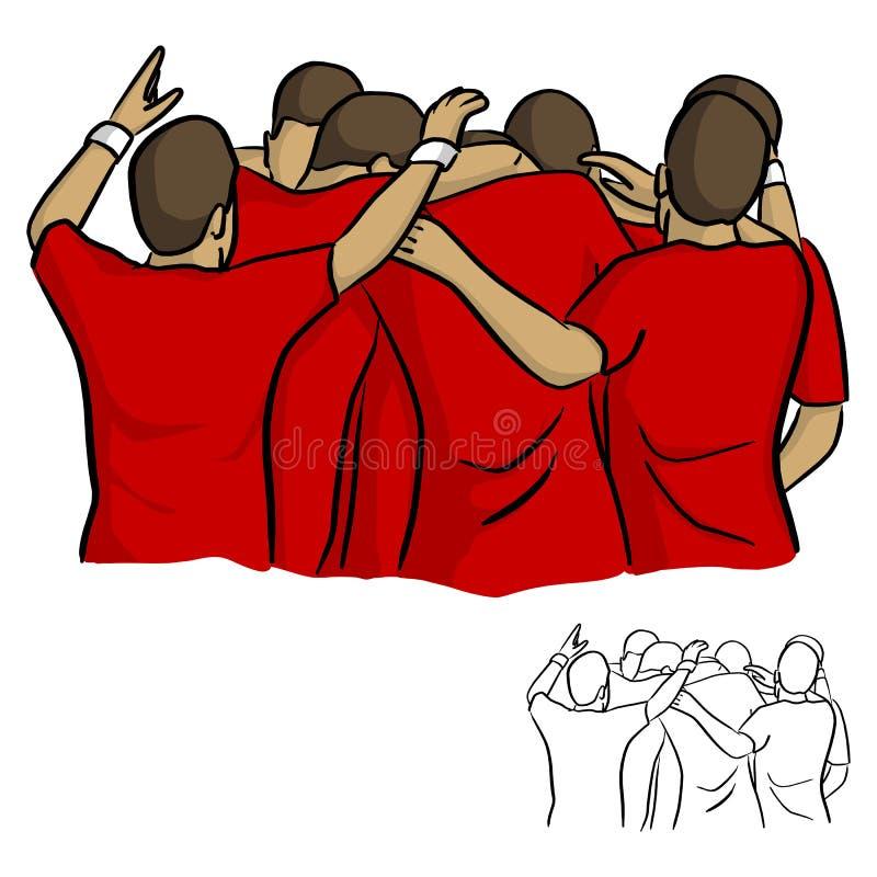 Mannelijk voetbalteam in het rode het overhemd van Jersey vieren na doel vect vector illustratie