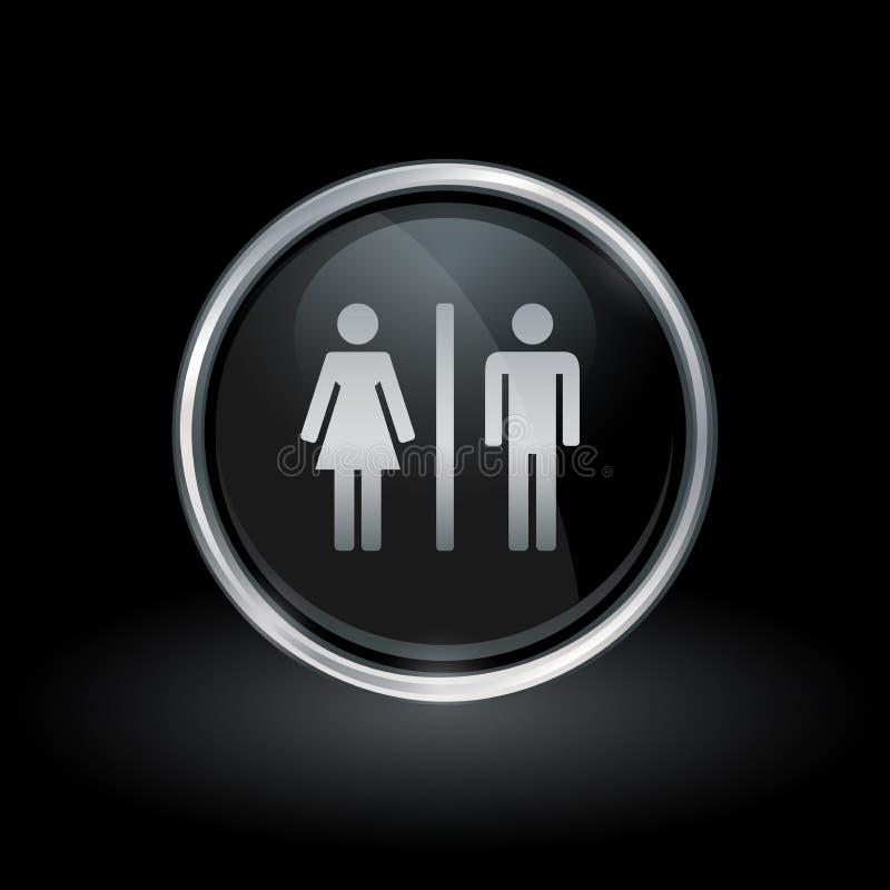 Mannelijk vrouwelijk geslachtspictogram binnen rond zilveren en zwart embleem stock illustratie