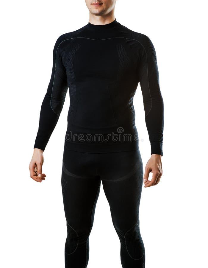 Mannelijk zwart thermisch ondergoed voor actieve sport stock afbeelding
