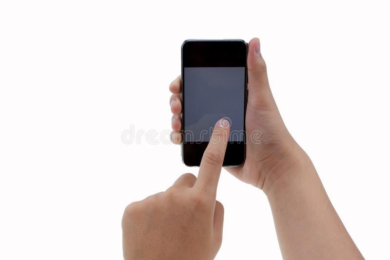 Mannelijke aanrakings mobiele telefoon royalty-vrije stock afbeelding