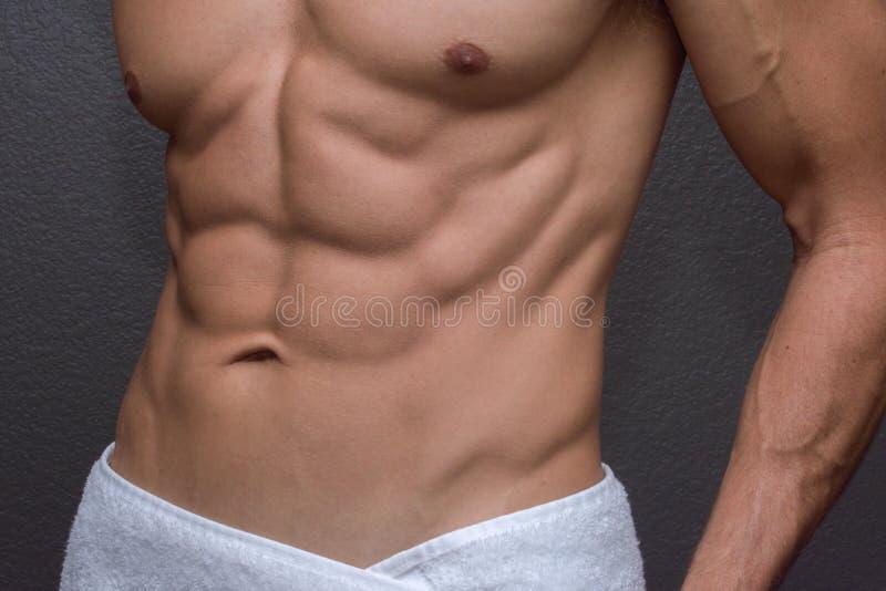 Mannelijke abs close-up stock foto's