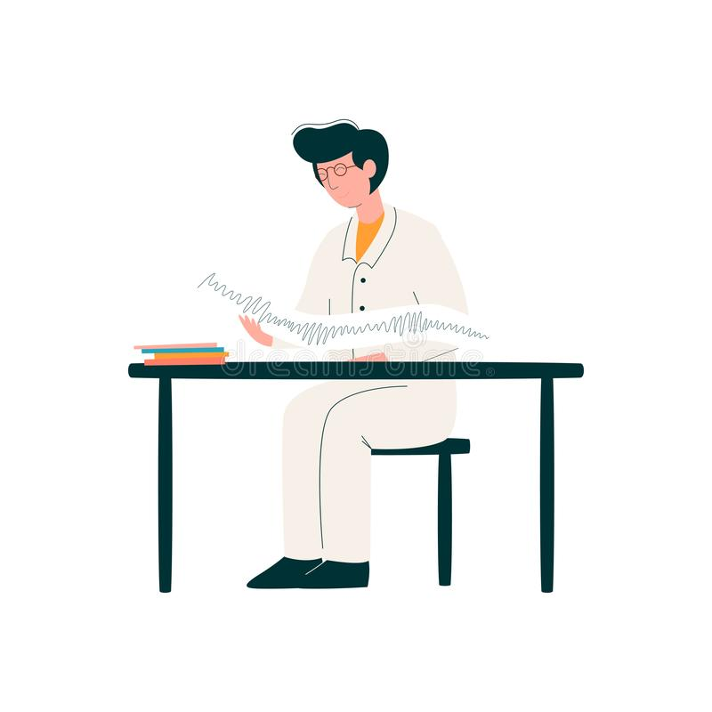 Mannelijke Arts Character Working bij Bureau, Geneeskunde Professioneel Karakter in Eenvormige Vectorillustratie vector illustratie