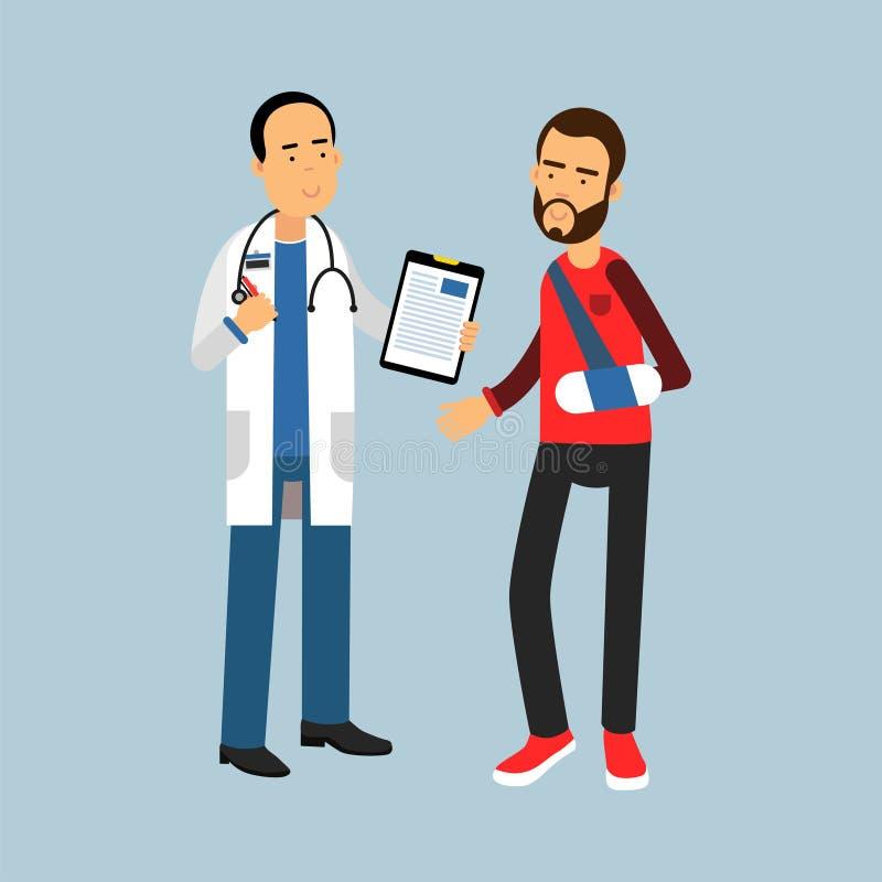 Mannelijke arts die aanbevelingen geven aan de patiënt met een gebroken wapen, Illustratie royalty-vrije illustratie