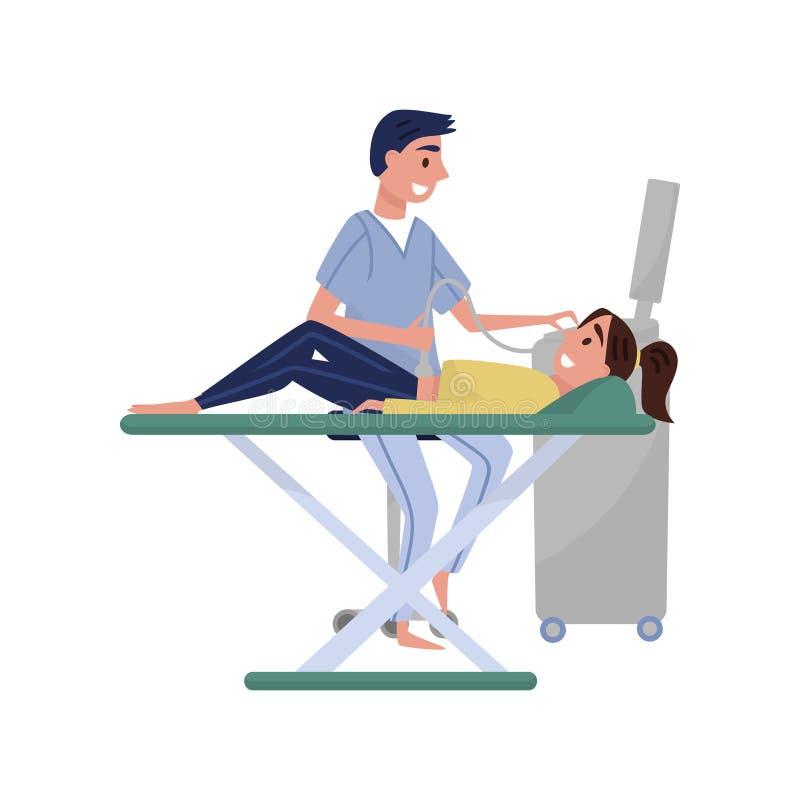 Mannelijke arts die echografie aan vrouwelijke patiënt, medische behandeling en de vectorillustratie van het gezondheidszorgconce stock illustratie