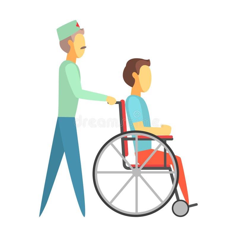 Mannelijke arts die gehandicapte mensenzitting op rolstoel duwen Kleurrijke beeldverhaalkarakters royalty-vrije illustratie