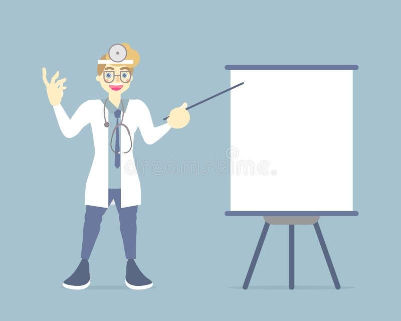 Mannelijke arts die presentatie maken, die op de lege grafiek van de tikraad, gezondheidszorgconcept voor het ziekenhuis richten stock illustratie