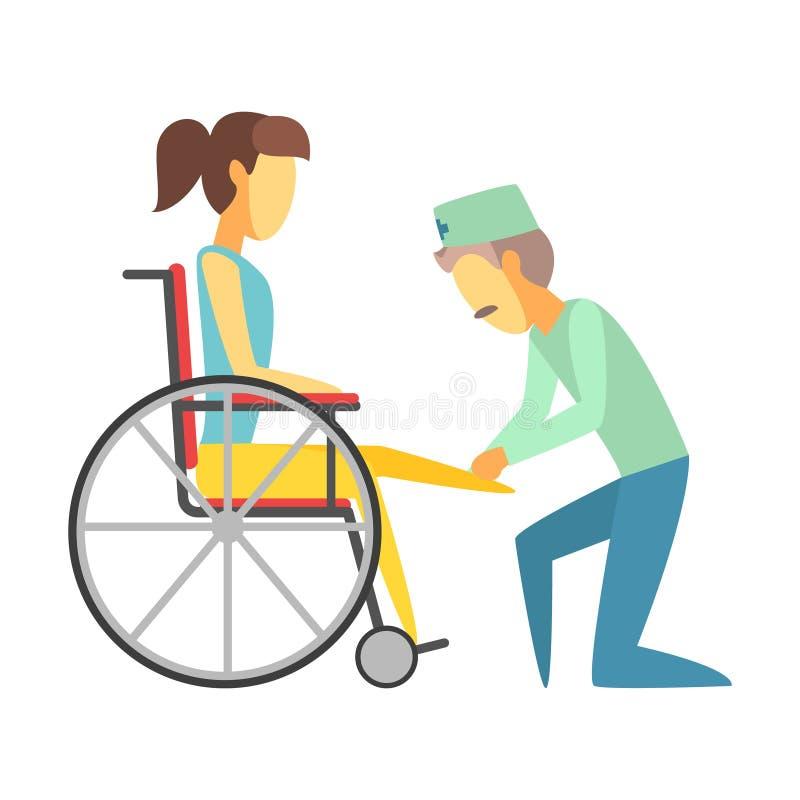 Mannelijke arts die vrouwenzitting op rolstoel helpen Kleurrijke beeldverhaalkarakters royalty-vrije illustratie