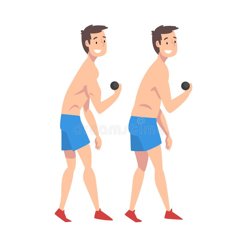 Mannelijke Atleet Exercising met Domoren, Glimlachend Guy Before en na Gewichtsverlies, Mannelijk Lichaam die door Dieet verander stock illustratie