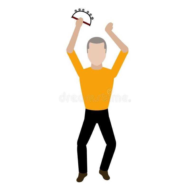 Mannelijke avatar die een tamboerijn spelen vector illustratie
